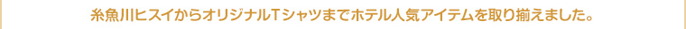 糸魚川ヒスイからオリジナルTシャツまでホテル人気アイテムを取り揃えました。